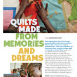 October 2015 American Patchwork & Quilting Magazine Volume 23, Number 5, Issue 136 , p. 17. Memories and Dreams by Suzanne Smith Arney. Nebraska quilter Kay Grimminger was unfamiliar with hyenas; student Nyabiel Khor had never made a quilter's knot. Used with permission from American Patchwork & Quilting® magazine. ©2015 Meredith Corporation. All Rights Reserved.