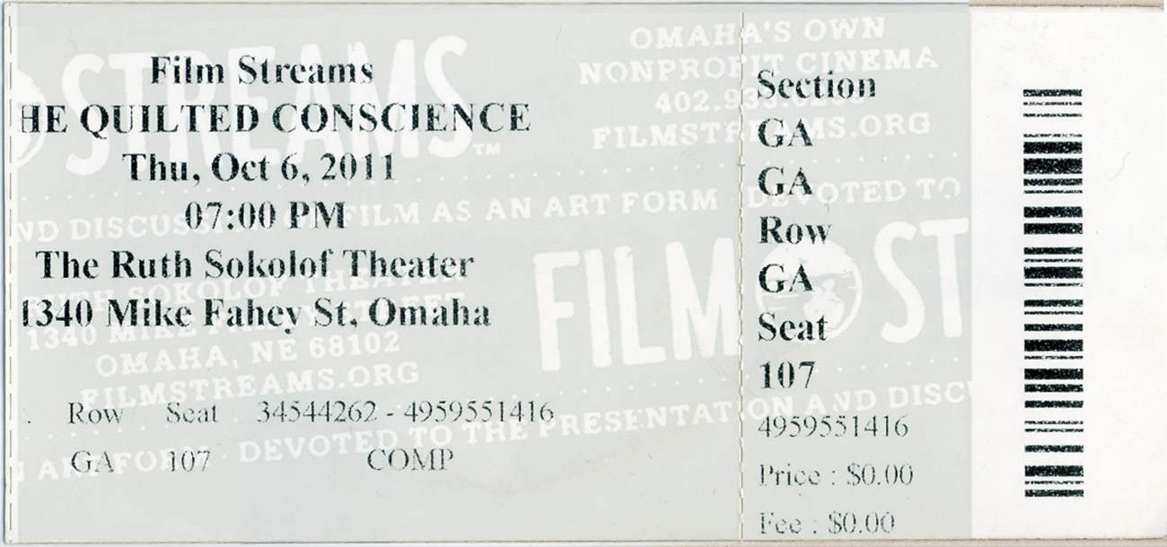 Film Streams Ticket at the Ruth Sokolof Theater, Omaha