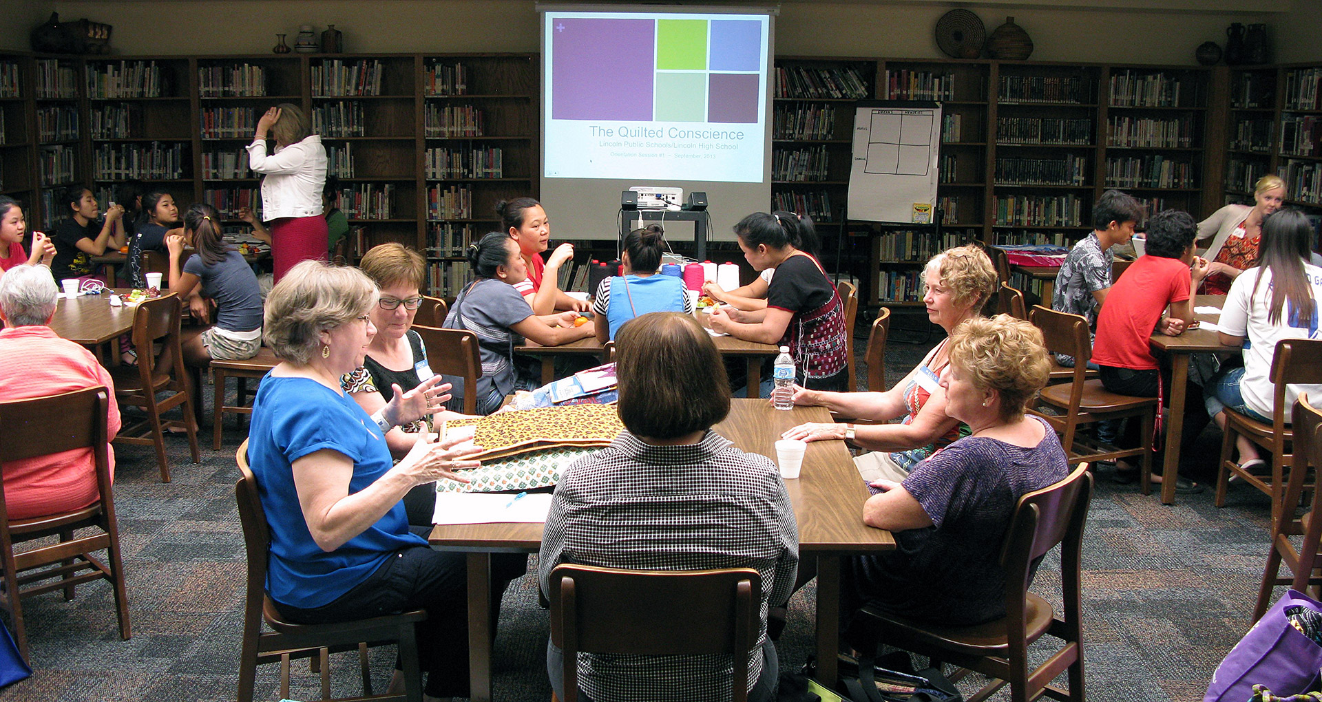 Quilters & students gather for the workshop. Courtesy Ruth Kupfer, Lincoln Quilt Coordinator