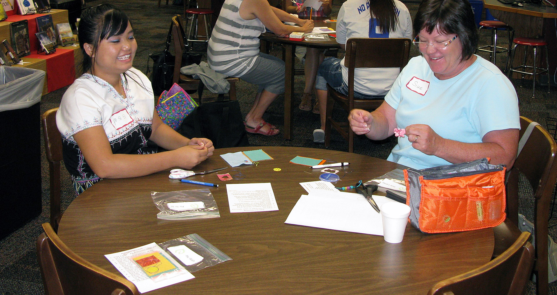 The design process delights Karen-American quilters in Lincoln. Courtesy Ruth Kupfer, Lincoln Quilt Coordinator