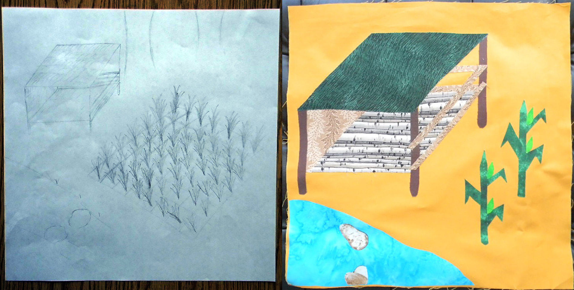 Eh Tee Day's Memories sketch compared to the pieced block. Courtesy Susan Hertzler, Lincoln H.S.