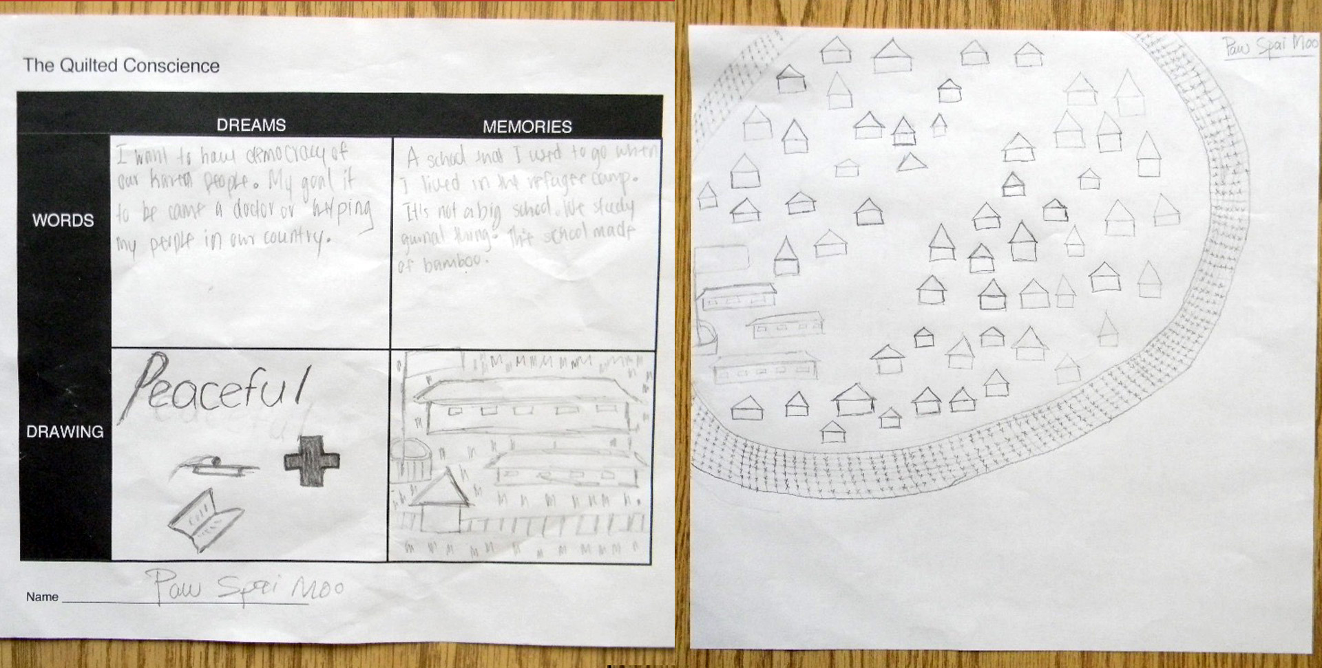 Paw Spai Moo's initial stories & sketches, with a revised Memories sketch. Courtesy Susan Hertzler, Lincoln H.S.