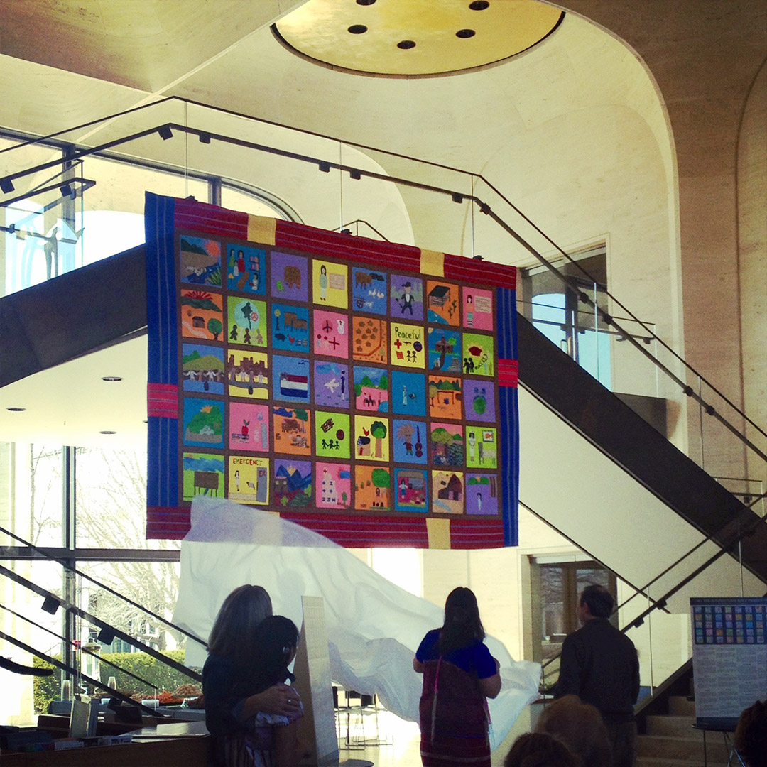 The Karen-American Quilt unveiled at Sheldon Art Museum. Courtesy Susan Hertzler, Lincoln H.S.