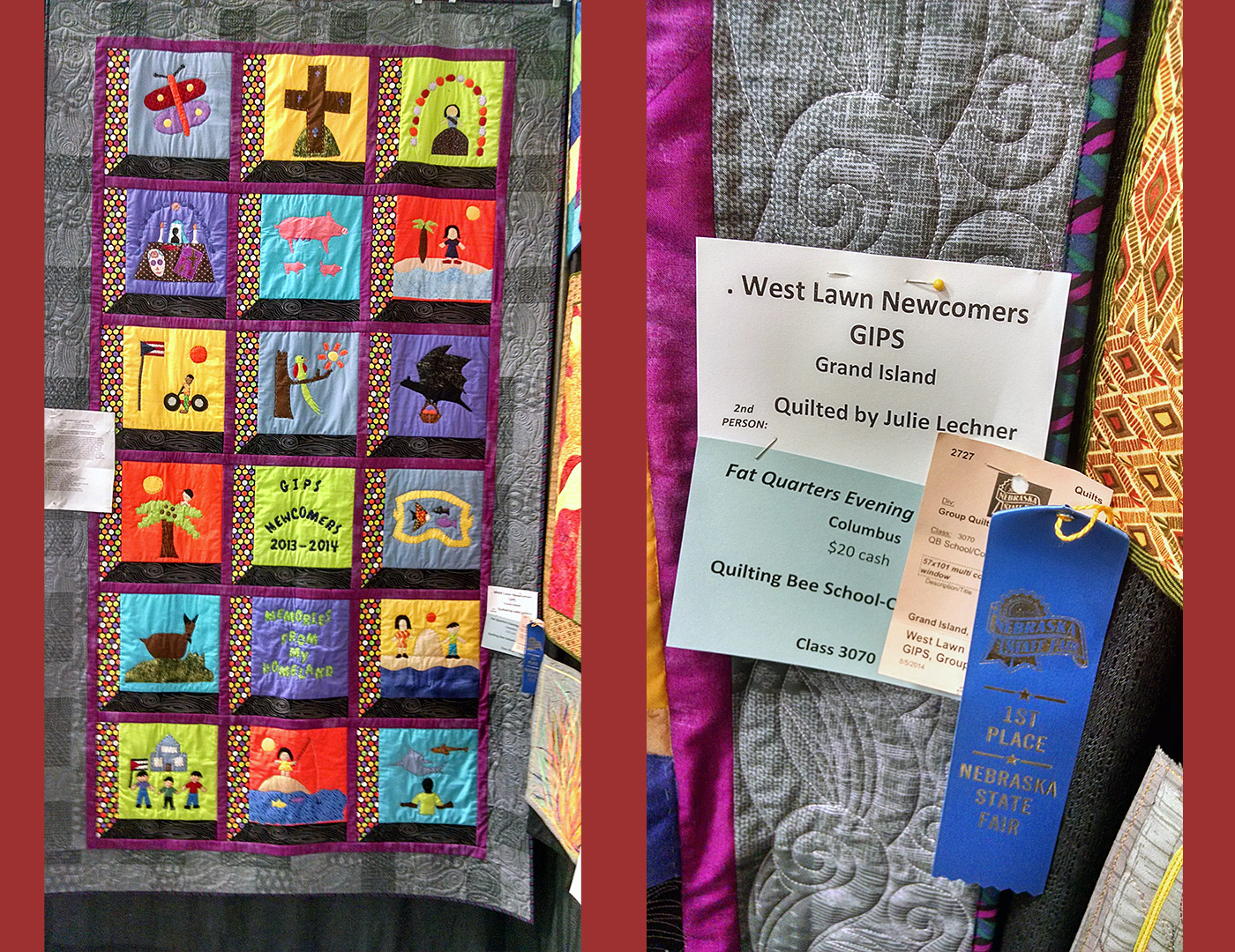 2013-2014 Newcomers Quilt & Nebraska State Fair First Place Blue Ribbon. Courtesy Tracy Morrow